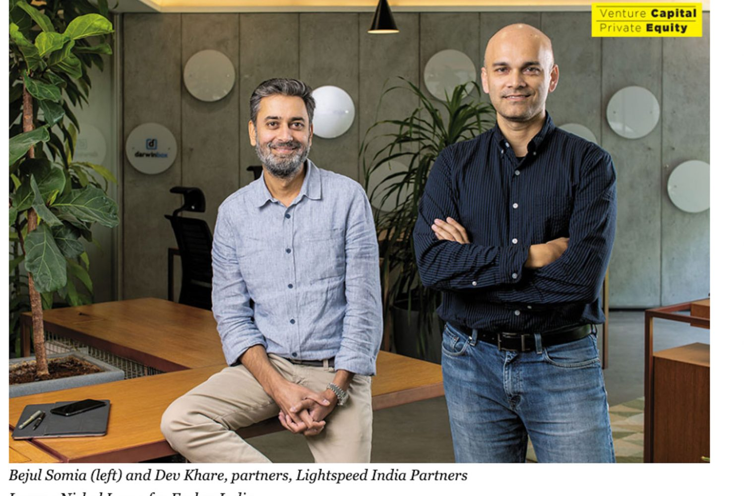 Portrait of Lightspeed India Partners founders for Forbes India
